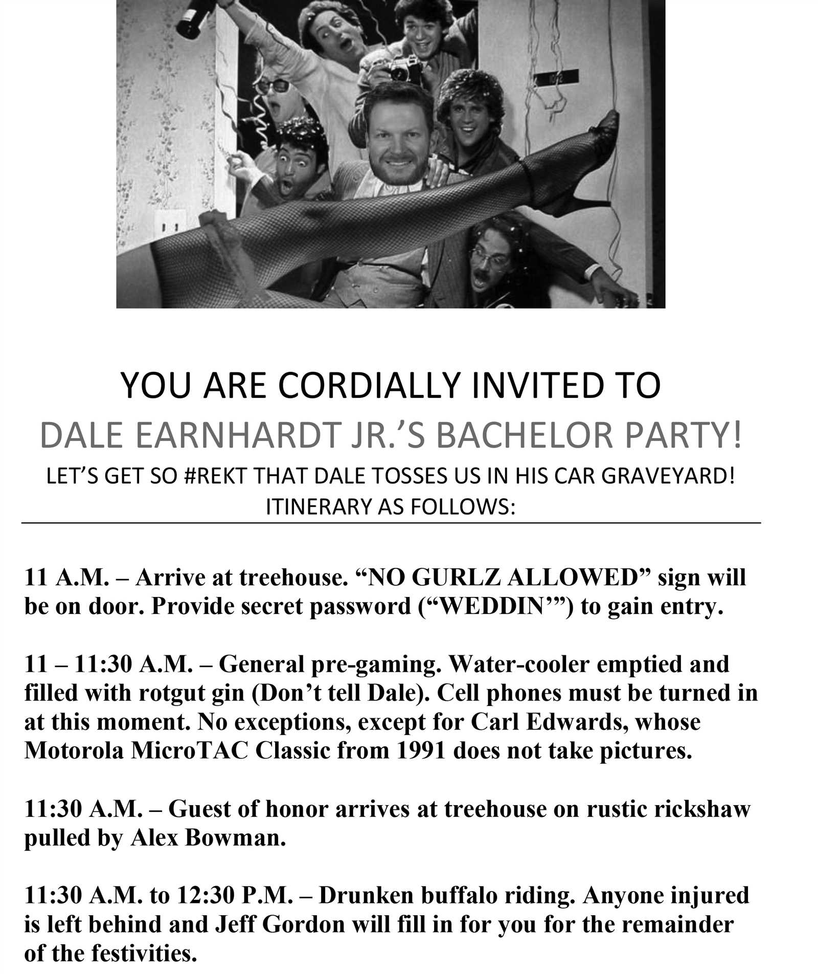 nascarcasm dale earnhardt jr s bachelor party itinerary official
